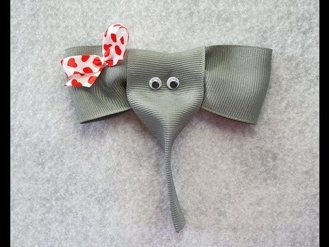 How to make an ELEPHANT ribbon hair clip lesleeusf