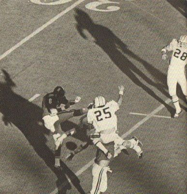 """One of the greatest moments in Auburn football is hands down the 1972 Iron Bowl, better known as """"Punt Bama Punt"""". Coming in at #17 on our list, the Tigers came back from a 16 point deficit to win the game with a blocked kick. War Eagle Tigers!"""