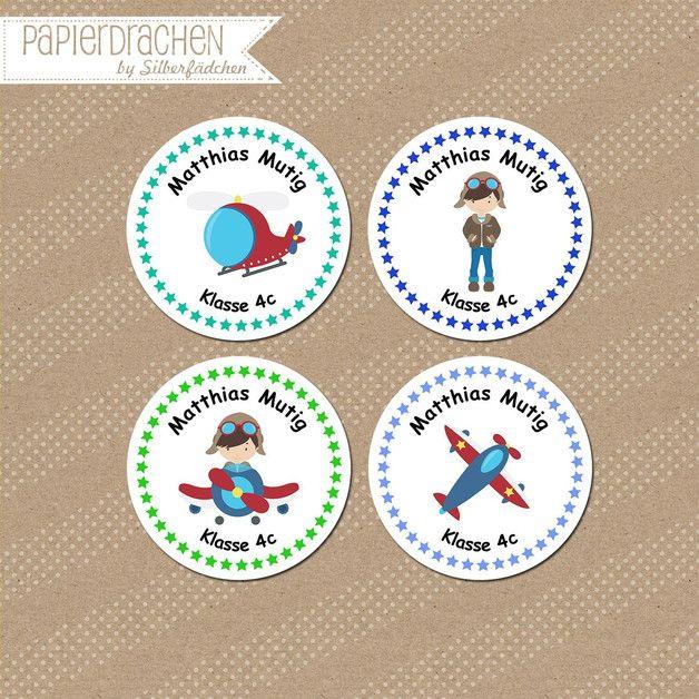 Aufkleber & Etiketten - 24 Aufkleber Namenssticker Schule (Set 3) - ein Designerstück von Papierdrachen bei DaWanda