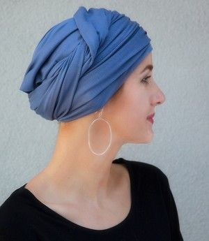Smoky Blue Turban Head Wrap (One Piece) is beautiful for #chemo #alopecia or stunning #style. Save 10% with code PINIT
