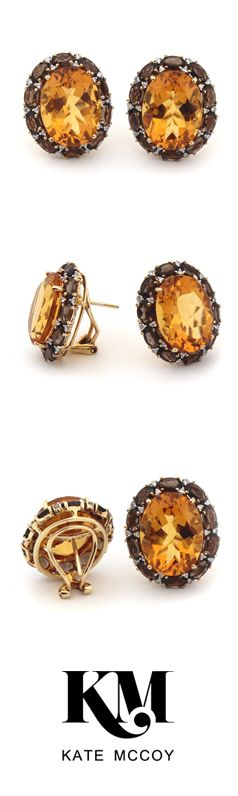 Eau de Vie Earrings by Kate McCoy | Made from a selection of the highest quality citrine, smokey quartz and diamonds using 18 karat yellow gold.