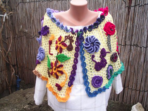 Knitted floral scarfshawlcowl crochet lace/Bridal by etsytamen