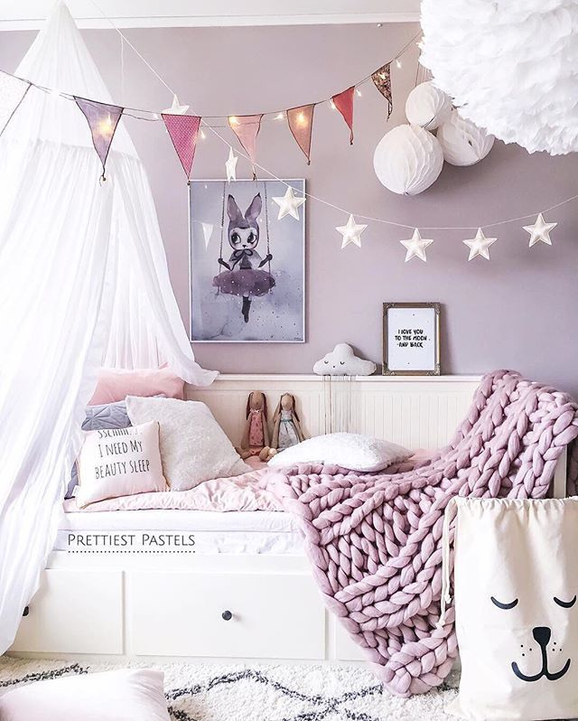 Bunting And Fairy Lights Are The Perfect Pairing Purple Bedrooms Grey Girls Rooms Purple Girls Room