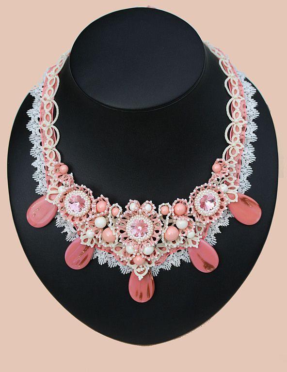 Beaded Necklace   Колье «Ангел Джейн» с жемчугом и кристаллами Swarovski — Купить, заказать, колье, ожерелье, жемчуг, кристалл, бисер, ручная работа, сваровски