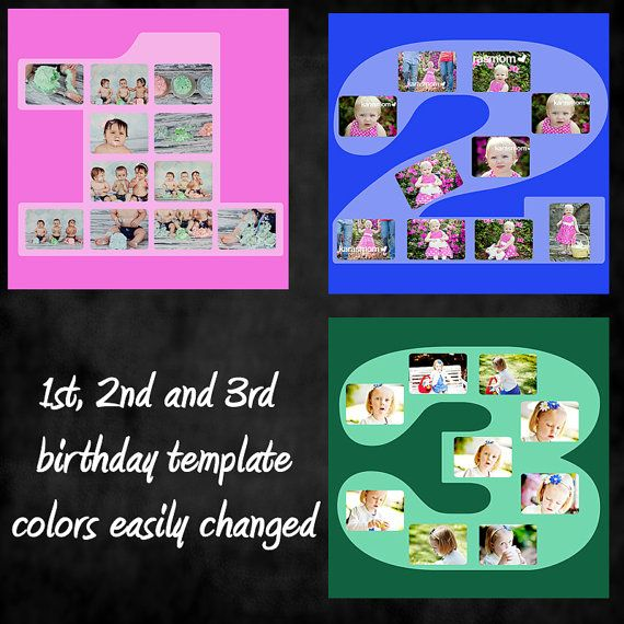 Square birthday number 1 2 3 template collage for Photo collage number templates