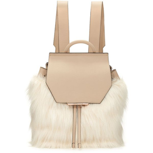 Kendall + Kylie Nancy Leather Faux-Fur Backpack ($295) ❤ liked on Polyvore featuring bags, backpacks, beige, beige backpack, faux fur bag, day pack backpack, genuine leather bags and leather rucksack