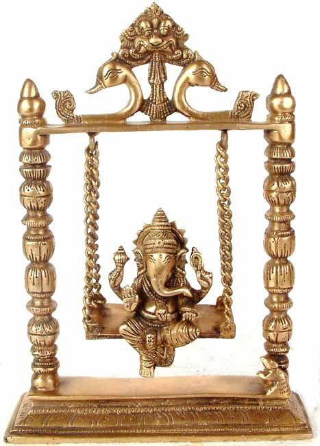 Lord Ganesha on a Swing, in Brass