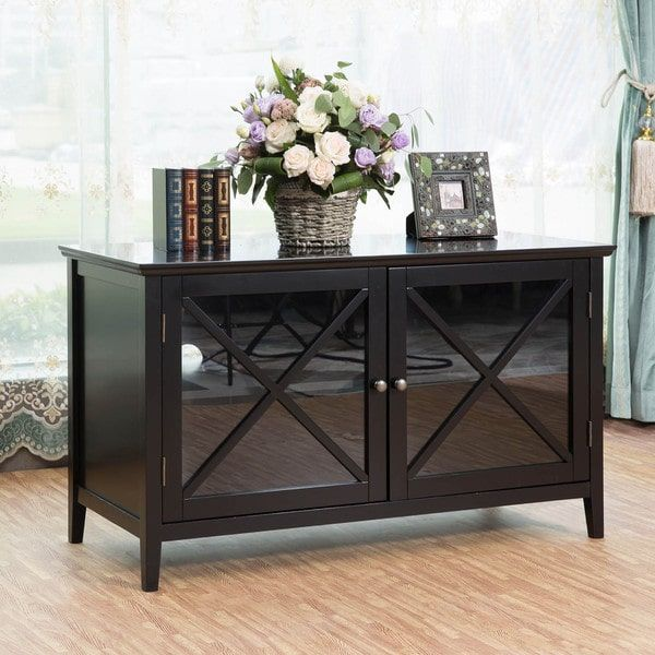 Black-finished Wooden 42-inch TV Stand