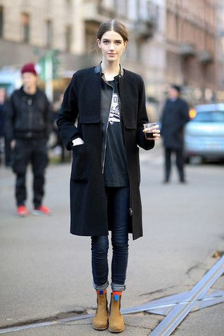 Women's Black Coat, Black Leather Jacket, Black and White Print Crew-neck T-shirt, Navy Skinny Jeans