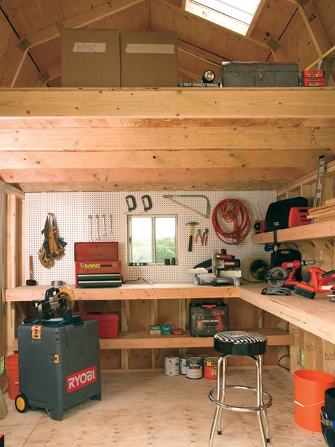 interior of tuff shed barn man cave heaven