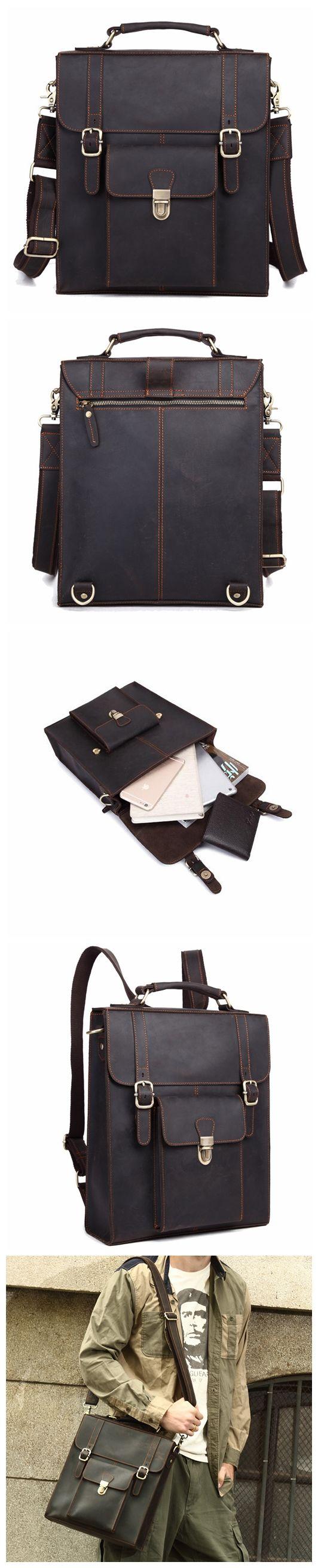 Multi-Use Genuine Leather Messenger Bag, Leather Backpack For Men, Crossbody Shoulder Bag