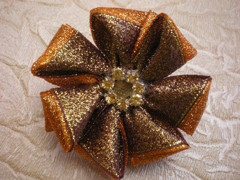 Цветок - Резинка для Волос Своими руками из Ленты 2.5 см. Flowers. Tutorial . KANZASHI. DIY. - YouTube