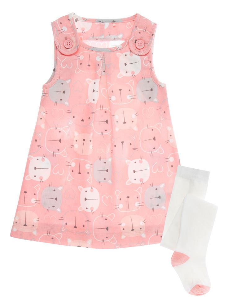 Baby Girls Pink Cat Dress and Tights Set (0-24 months) | Tu clothing