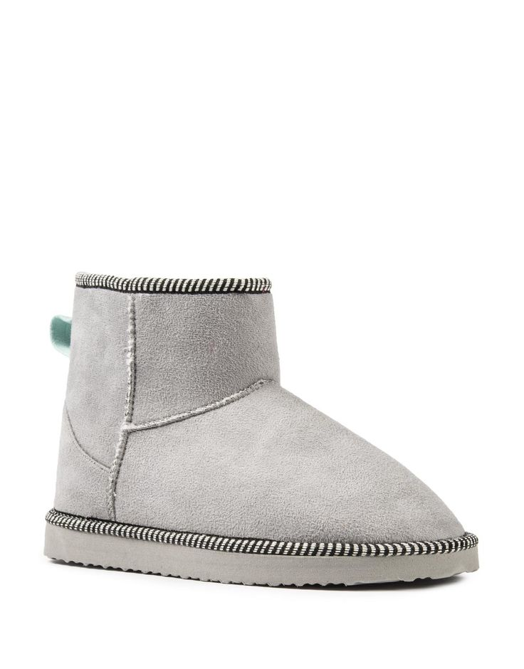 Striped Trim Boot Slippers