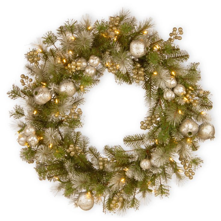 "National Tree Company 30"" Glittery Pomegranate Pine Wreath with Battery Operated LED Lights"