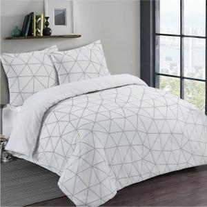 VISION Parure de couette 100% Coton - 1 housse de couette 240x260 cm + 2 taies d'oreillers 65x65 cm blanc et noir