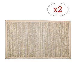 Valdler 18″x 30″ Non-Slip Indoor and Outdoor Door Mat Rug Rectangular Beige Set of 2