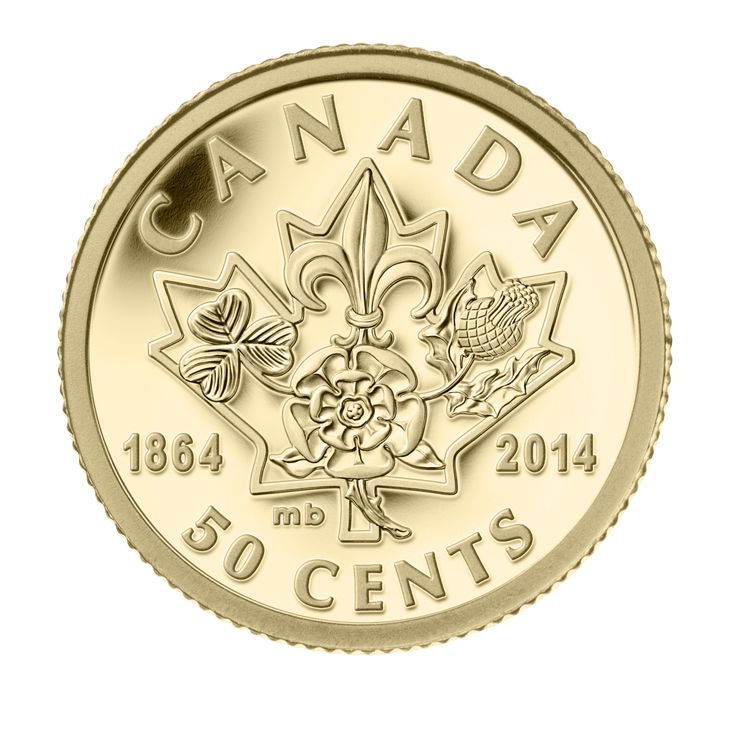 150th anniversary of the Charlottetown and Québec City Conferences, this symbolic coin features four founding floral emblems of the major European settler groups represented in the Canadian provinces at the time of Canadian Confederation.