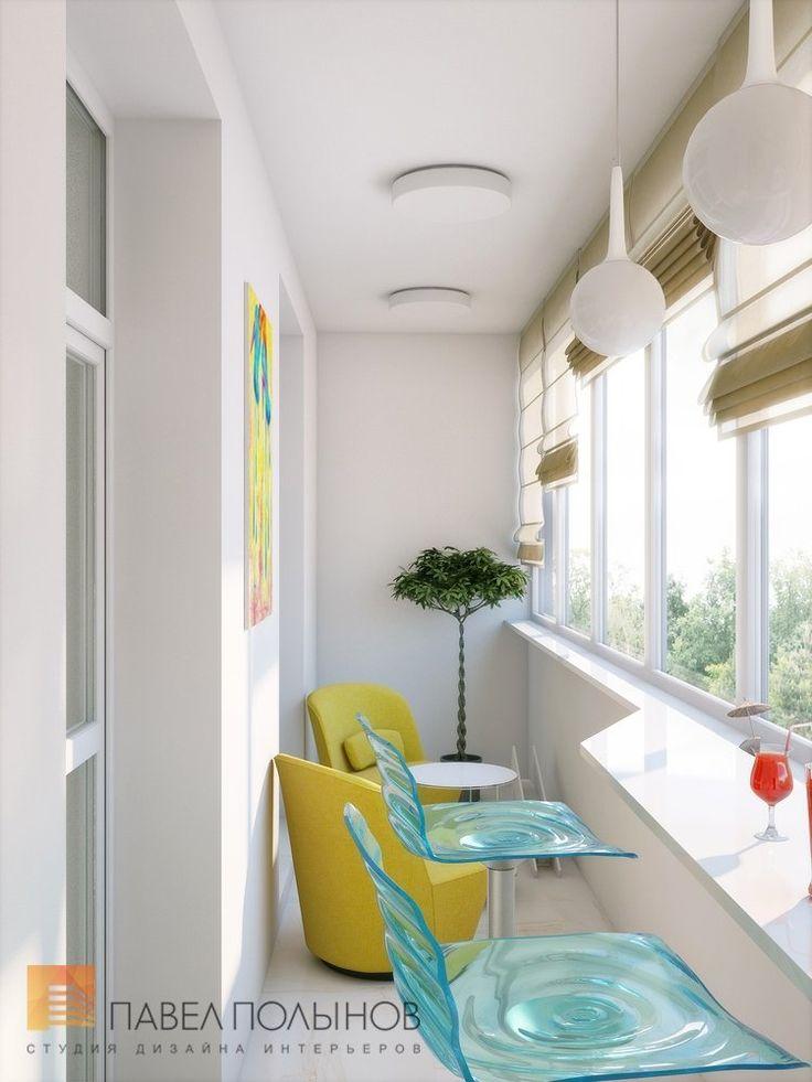 Спокойный интерьер лоджии в квартире в ЖК «Шмитовский 16»