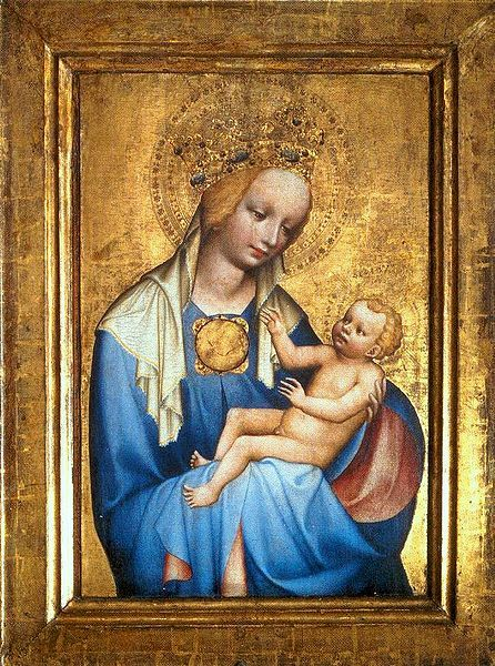 """Master of """"Třeboňský"""" altar - Madonna of Roudnice (second half of 14th century) #gothic #painting #art #Czechia"""