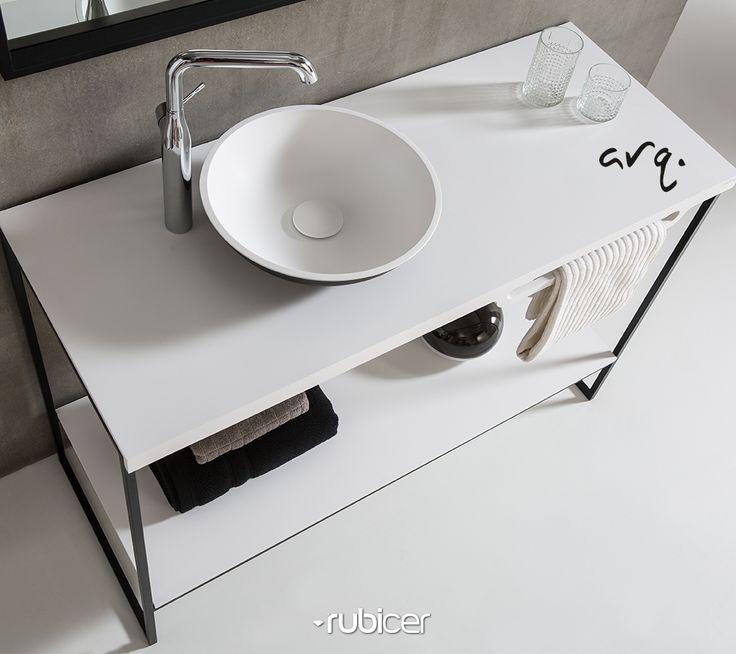 """Móvel suspenso """"Arq."""" com um design simples e funcional: a solução ideal para quem vive a máxima de """"menos é mais"""". Uma solução em Corian® que, se revela apenas em vantagens: um material não puroso, fácil de limpar, resistente a manchas e a bactérias. Um material durável e fácil de renovar.*acessórios não incluídos#corian #rubicer #washbasin #minimal #lessismore #white #black #simplicity #clean #design #function"""