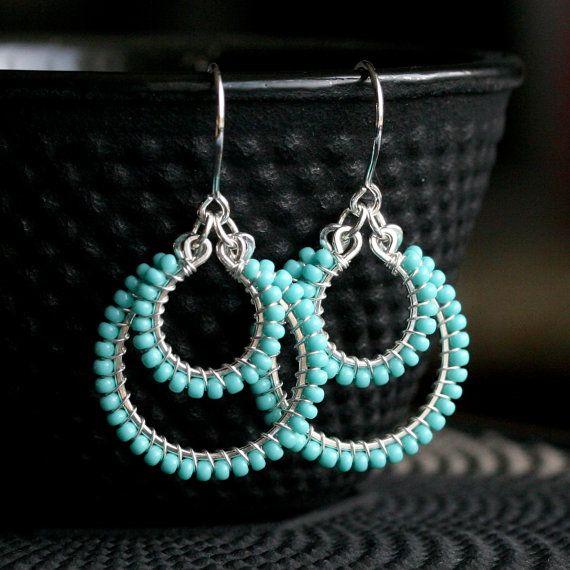 Handmade blue seed bead earrings, sterling silver, beaded dangle hoop, wire wrapped, aqua, robins egg, Mimi Michele Jewelry