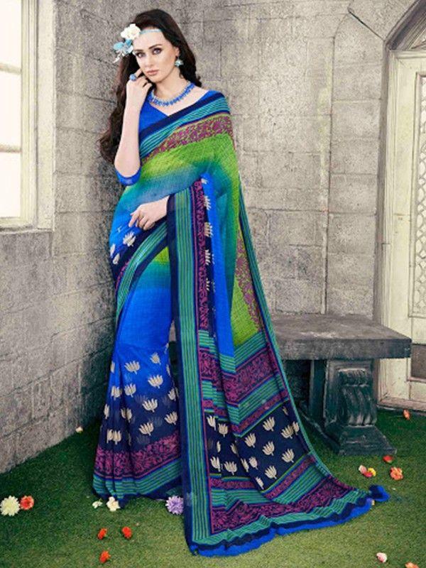 Georgette #Blue Printed #Saree For Casual Look Grab Here @ http://goo.gl/QY48au #NaarikeSangVastrang