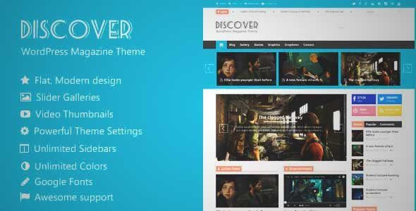 Download and review of Discover - Flat WordPress Magazine Theme, one of the best Themeforest Magazine & Blogs themes