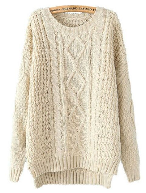 Beige Long Sleeve Cable Knit Dipped Hem Sweater - Sheinside.com