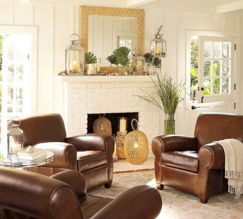 Find This Pin And More On Family Room Classic Living Room With White Brick Fireplace And Brown Leather Sofa