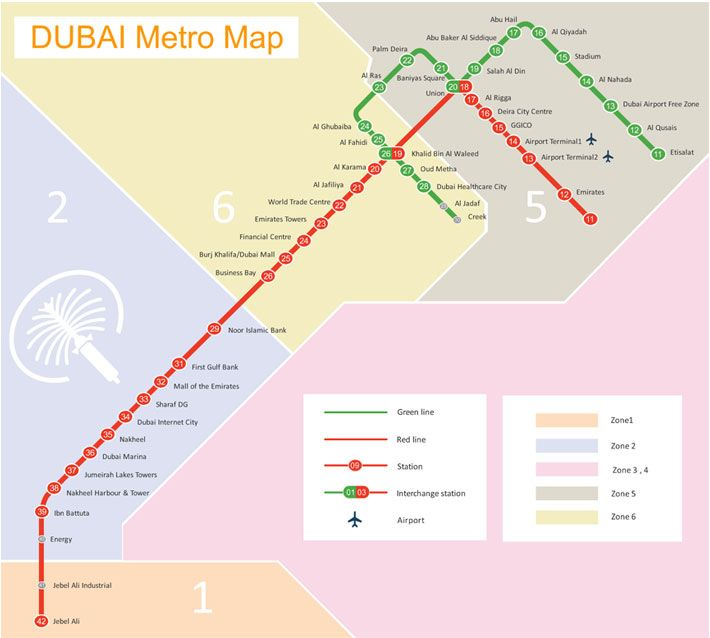 Dubai Metro Route Map –Dubai Subway Map–Dubai Rail Map Routes