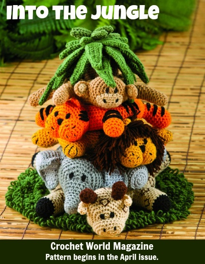 This crochet Into the Jungle set, designed by Cindy Cseh, will be presented over three issues, beginning with the tree and giraffe in the April issue of Crochet World Magazine. Go here to order the April issue: www.anniescatalog...