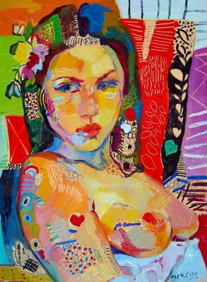 merello.-muchacha.Arte inversion. Invertir en arte contemporaneo y pintura espanola actual. Comprar cuadros de arte moderno y contemporaneo.  Artistas pintores.
