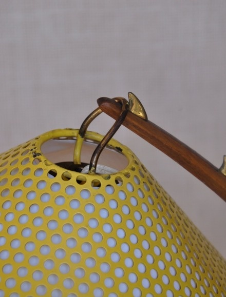 1960s large desk lamp designed and manufactured by Kalmar, Vienna. Made of wood, brass and perforated metal. Height (cm): 57; Depth (cm): 47. The lamp has been wired for international use and has an European plug. In good condition, the paper within the perforated shade has been replaced.
