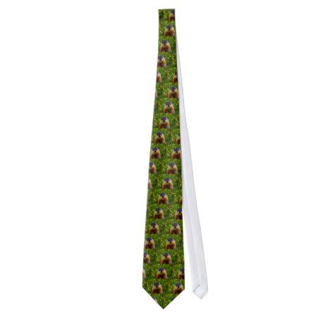 Happy Groundhog Day Eating Flower Neck Tie #groundhogday