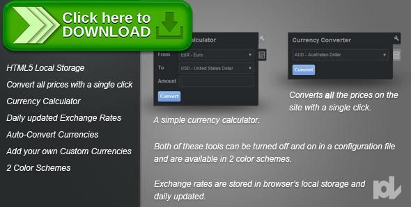 [ThemeForest]Free nulled download Premium Currency Converter for jQuery from http://zippyfile.download/f.php?id=51383 Tags: ecommerce, calculator, conversion, convert, currency, euro, exchange, html5, jquery, json, local storage, localstorage, money