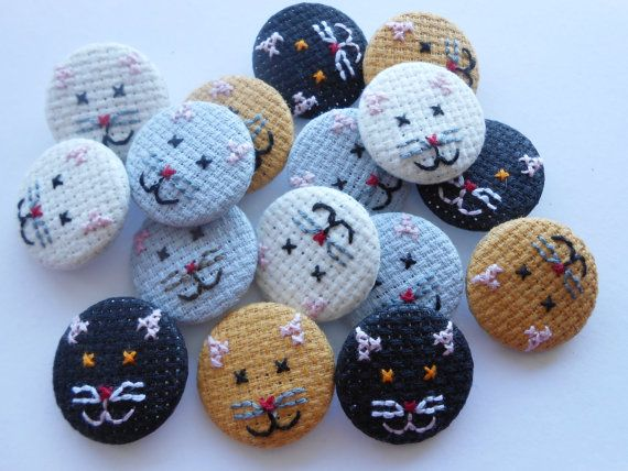 Kitten Button Badge Hand Sewn in Cross-Stitch Available in Grey Cream Black and Ginger Perfect for Cat Lovers