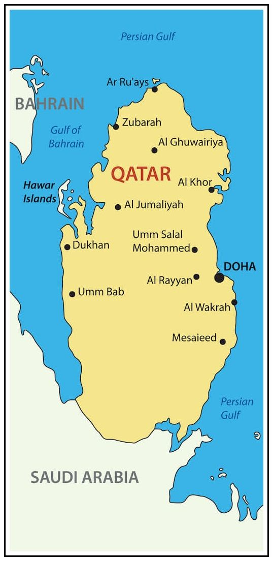 Qatar is a sovereign country located in Western Asia, occupying the small Qatar Peninsula on the northeastern coast of the Arabian Peninsula. An arm of the Persian Gulf separates Qatar from the nearby island country of Bahrain. Following Ottoman rule, Qatar became a British protectorate in the early 20th century until gaining independence in 1971. In 2017, Qatar's total population was 2.6 million: 313,000 Qatari citizens and 2.3 million expatriates.
