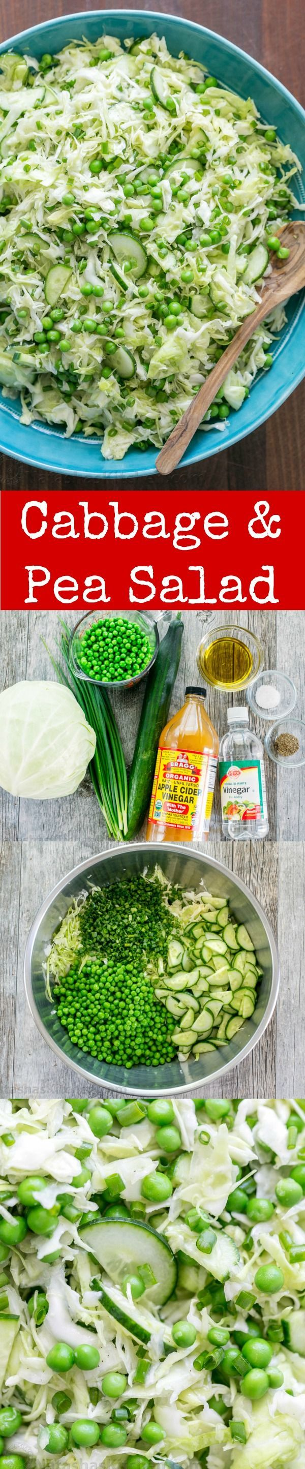 This cabbage and pea salad is vibrant, crisp and fresh. I love the sweet pop of flavor from the peas and the easy zesty dressing. A must try cabbage salad! | http://natashaskitchen.com