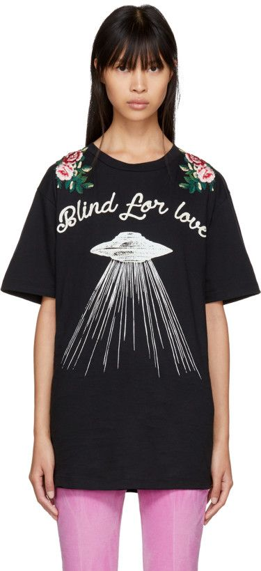 8ece2502 Gucci - Black 'Blind For Love' UFO T-Shirt | GRAPHIC TEES | Black ...