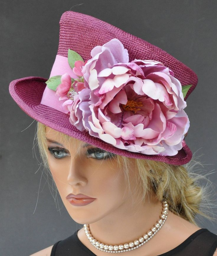 Wedding hat, Kentucky Derby Hat, Women's Pink Hat, Church hat, Formal Hat, Ascot Hat Pink Flowers Dressy Hat, Special Occasion Hat Event hat