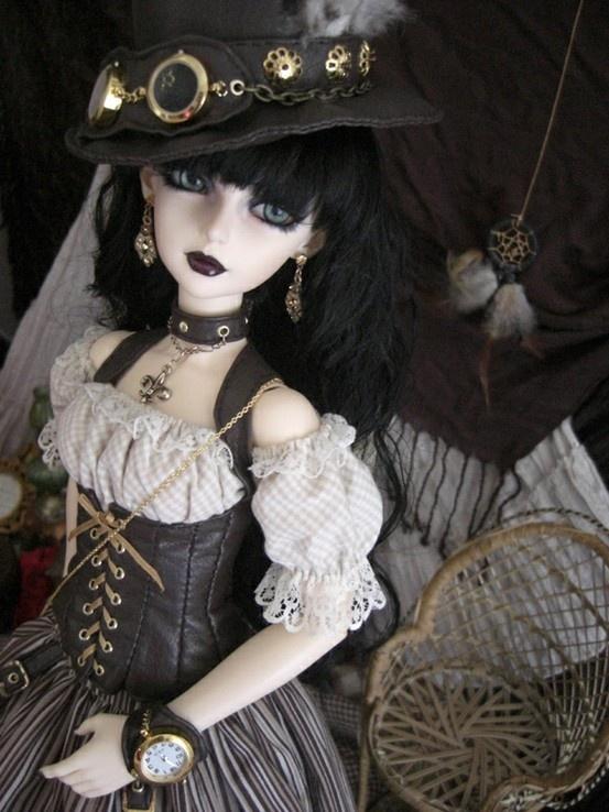 steampunk gothic doll...want want Its so precious. Love this.