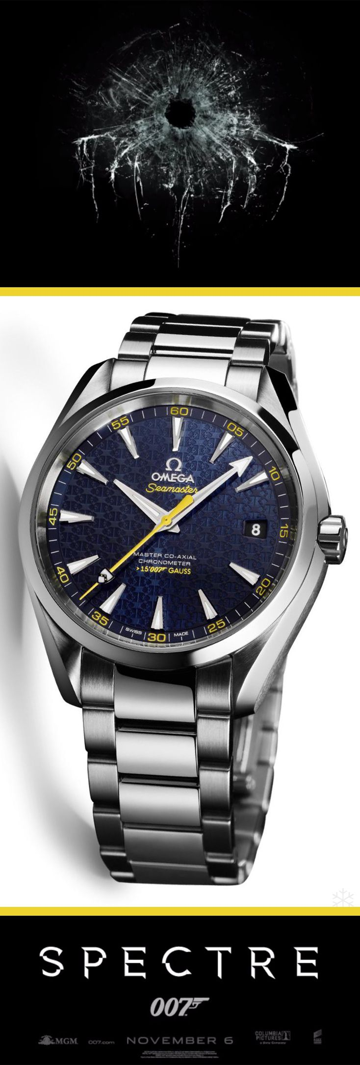 In anticipation of the new James Bond 007 movie, Spectre, Omega, the official watch of James Bond, has debuted a new James Bond-themed timepiece with the limited edition Omega Seamaster Aqua Terra > 15,007 Gauss. The watch is based on the popular  Omega Aqua Terra > 15,000. The most distinctive elements of the new limited edition > 15,007 Gauss watch is the special colors as well as the use of the James Bond family coat-of-arms.