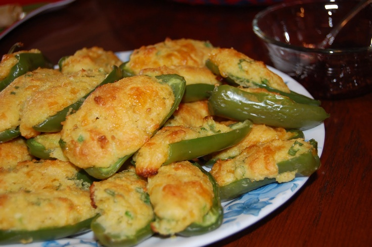 Cornbread stuffed jalapenos - I LOVE jalapenos in my corn bread...hadn't thought of putting my cornbread in the jalapenos!~Maria