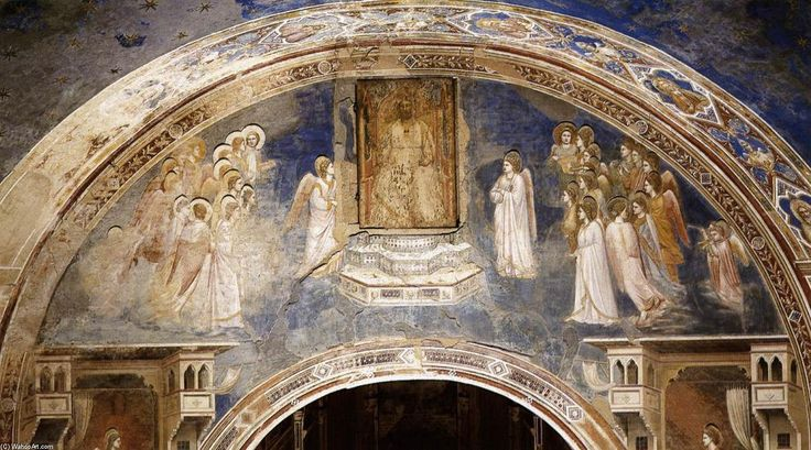 'No. 13 Gott schickt Gabriel an die Jungfrau Maria', freskos von Giotto Di Bondone (1266-1337, Italy)