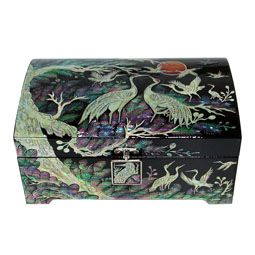 Mother of Pearl Wooden Jewelry Box Inlaid with Crane and Pine Design