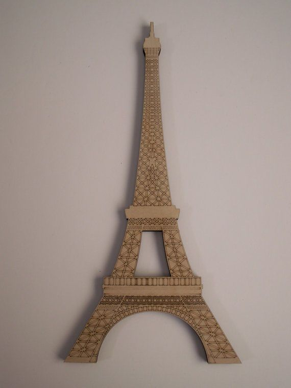 Eiffel Tower Wood Shape, Laser Cut and Etched, Ready to Paint, Paris Theme Decor