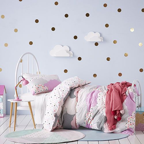 Kids bedroom ideas. How cute is this and it's on sale! Had to share. Adairs Cloud Quilted Purple Quilt Cover Set