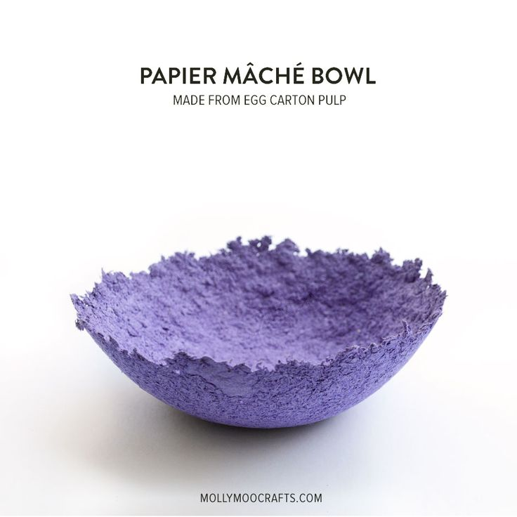 papier mache bowls made from egg carton pulp by Michelle McInerney of MollyMooCrafts.com