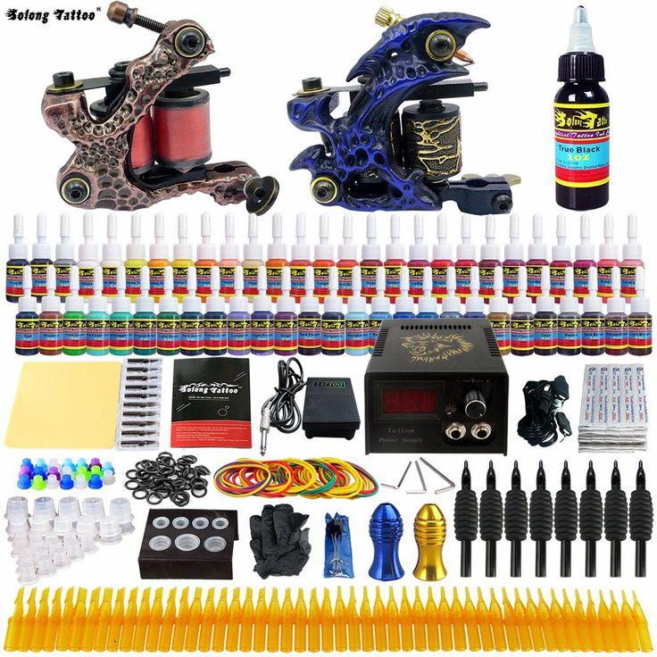 Complete Tattoo Kit 2 Professional Tattoo Machine Kit Coil Machine Guns 54 Inks Power Supply Needle Grips Fast Shipping TKB01